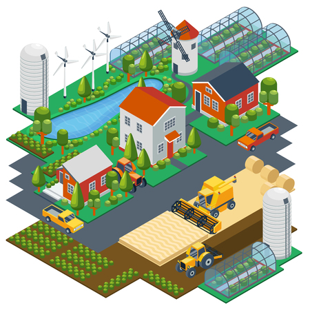 Isometric farm scene. Village setting with buildings, tractor, combine, pickup, pond and mill. Greenhouse and field, nature landscape, harvest rural. Vector illustration