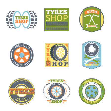 vulcanization: Tyre shop vintage flat badges. Car vulcanization, automobile repair, wrench and transport, vector illustration