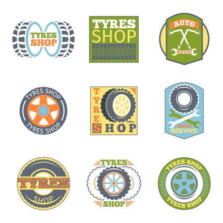 vulcanization: Tyre shop vintage flat badges. Car vulcanization, automobile repair, wrench and transport, vector illustration