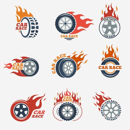 Racing étiquettes plates fixées. Blaze et flash, transport automobile, pneus flamme, illustration vectorielle