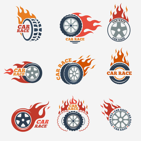 a wheel: Racing flat labels set. Blaze and flash, auto transport, flame tire, vector illustration