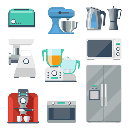 grinder: Cooking equipment flat icons set. Toaster and stove, kettle and mixer, refrigerator and grinder, blender object. Vector illustration Illustration