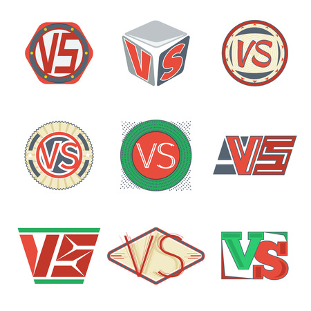 vs: Vs icons. Vector VS letters signs. Competition and team, fight and sport illustration Illustration