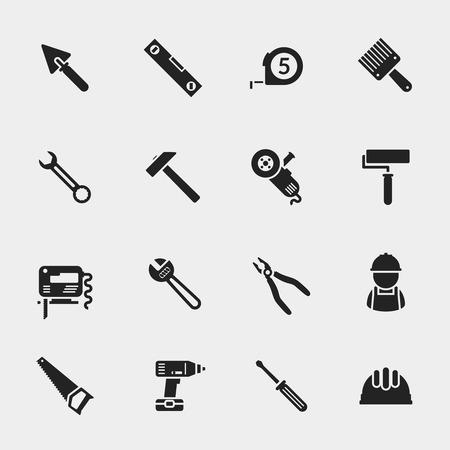 herramientas de trabajo: Herramientas iconos conjunto. Llave y llana, esp�tula y la ruleta, casco y un destornillador, pinzas y sierra caladora, ilustraci�n vectorial