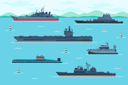 vessel: Warship set in flat style. Boat transport, speedboat and hovercraft, transportation vessel. Vector illustration