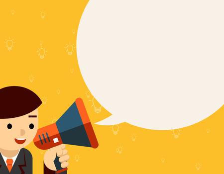 hombres ejecutivos: Hombre de negocios con meg�fono. La gente de comunicaci�n, aviso y gritando, ilustraci�n vectorial