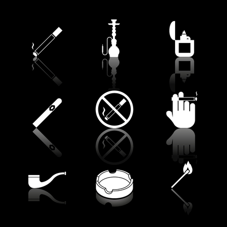 Vector cigarette, hookah and cigar icons. Smoke and tobacco, no nicotine, pipe and narcotic illustration