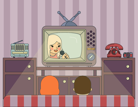 tv station: Retro show. People watch TV. Illustration in vintage style. Entertainment video, screen and display, vector movie media