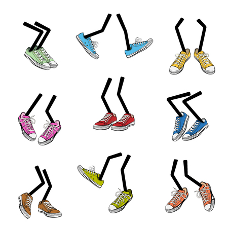 sole: Cartoon walking feet. Step and sole, sneaker clothing, leg fashion, cute and comic, vector illustration