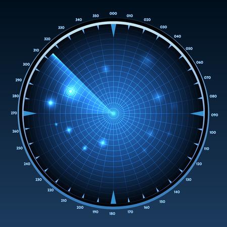 sonar: Radar schermo vettore. Attrezzature tecnologiche militari, sistema di monitoraggio, di navigazione e il rilevamento dello scanner, illustrazione vettoriale