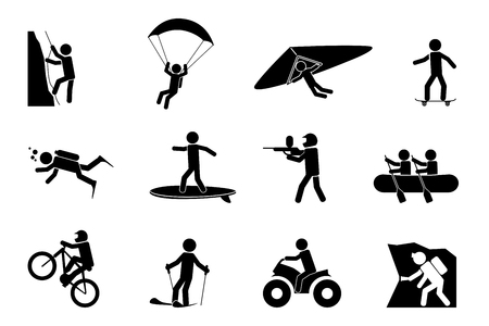 action: Extreme sports or adventure icons. Speleology and parachute, swimming and paintball, climb and skateboard, vector illustration Illustration
