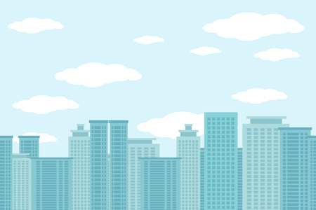 cityscape silhouette: City of skyscrapers horizontal seamless pattern. Architecture urban building, structure house cityscape, vector illustration Illustration