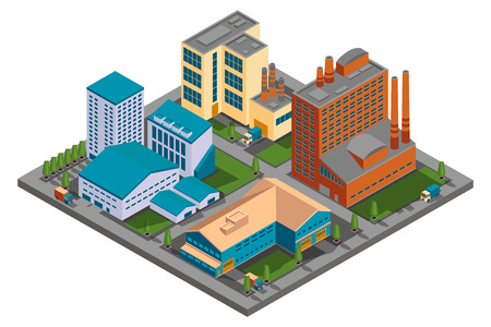 building industry: Vector isometric factory. Set of building industry, construction industrial plant illustration