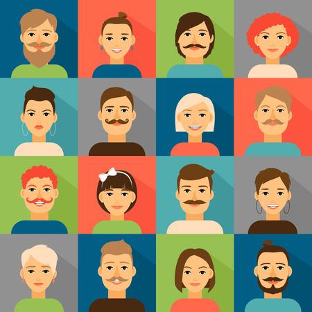 アバターのアプリ アイコン。流行に敏感な顔を設定します。肖像画の人、ベクトル イラスト