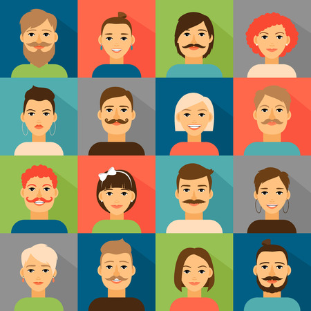 beard woman: Avatar app icons. User hipster face set. Portrait people, person vector illustration