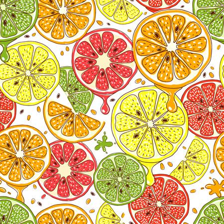 frutas tropicales: Las frutas cítricas vector de fondo sin fisuras. limón Alimentos y mandarina, pomelo y naranja, ilustración, diseño fresco Vectores