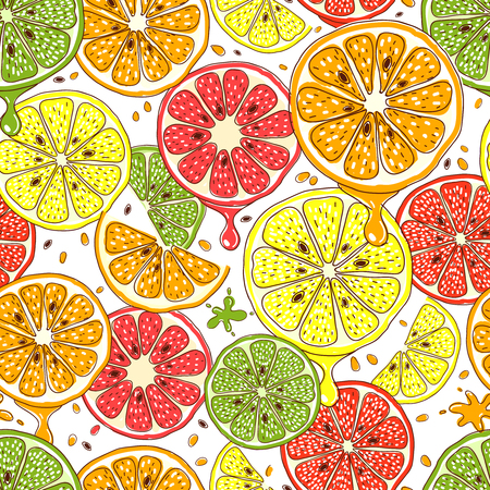 Citrus fruits vector seamless background. Food lemon and mandarin, grapefruit and orange, fresh design illustration