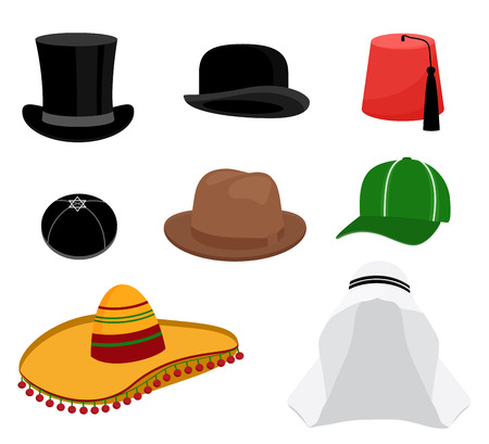 headgear: Traditional hat set. Fashion cap, circular headgear, headwear sombrero style. Vector illustration