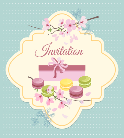 nostalgic: Invitation card to tea party with flowers and french macaroons in vintage nostalgic style. Sweet cake, dessert graphic vector illustration