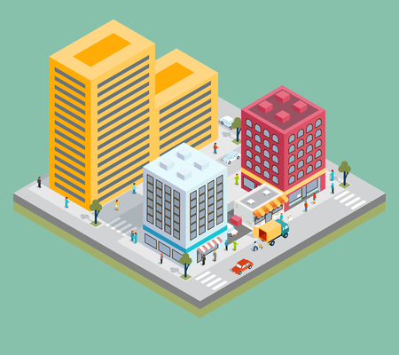 road building: Isometric city center map with buildings, shops and roads. Town plan, construction architecture vector illustration Illustration