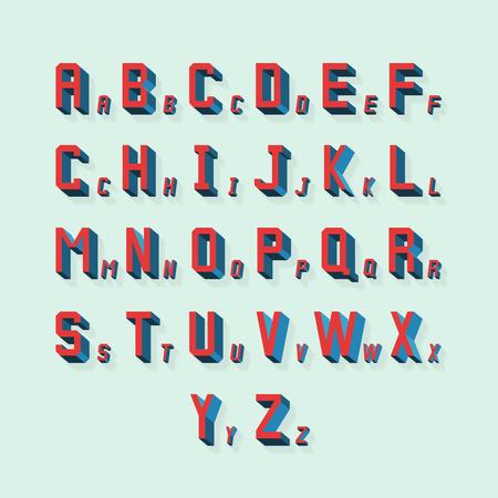 tipos de letras: Vector retro volum�trica 3d alfabeto. Tipograf�a alfabeto, las letras con la ilustraci�n de la sombra