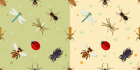 dragonfly wings: Sealmess insects pattern. Ladybird and beetle, bee and dragonfly, mosquito and spider, vector illustration Illustration