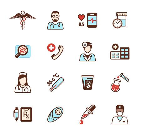esculapio: Iconos de salud establecidos. S�mbolo m�dico, personal de Esculapio, el coraz�n y de emergencia, de atenci�n m�dica y la ayuda, m�dico y farmacia, ilustraci�n vectorial Vectores