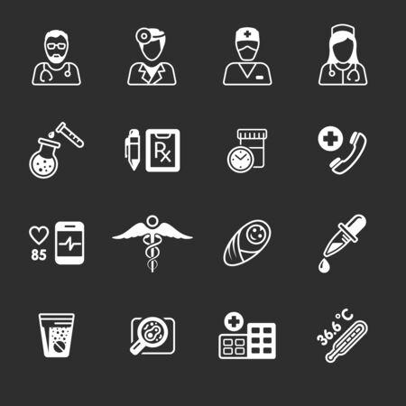 aesculapius: Iconos médicos línea SET. Personal de Esculapio, de emergencia y de atención médica, la ayuda y la cardiología, ilustración vectorial Vectores