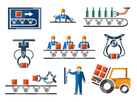 Industrial and engineering icons set in flat design style. Process and control, machinery and tool, power engineering arm, vector illustration