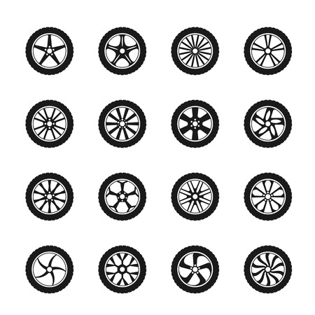 vector tyre: Vector car wheel icons set. Transportation automobile, tyre rubber,  disk detail illustration