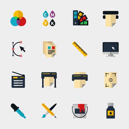 imprenta: Iconos planos poligrafía establecen. Spectrum y gamma, equipos de tecnología, la tinta y la paleta, ilustración vectorial