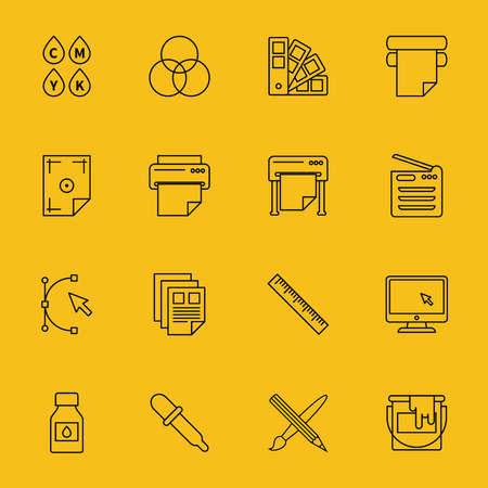 printing business: Line printing icons set. Ink and palette, printer and cmyk spectrum, curve bezier, cursor and paintbrush, vector illustrations