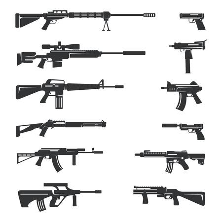 pistola: Conjunto de vectores de armas iconos. Objeto Arma, el ejército y las armas de fuego, ilustración automática y el peligro