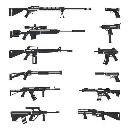 danger symbol: Vector set of guns icons.  Weapon object, army and firearm, automatic and danger illustration