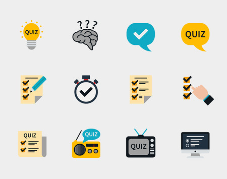 exam: Raffle prizes and quiz flat icons. Answer and question, exam text, ask and winner, vector illustration