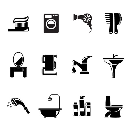 toilet brush: Bathroom icons set. Toothbrush and bath, water and mirror, towel and toothpaste, vector illustration Illustration