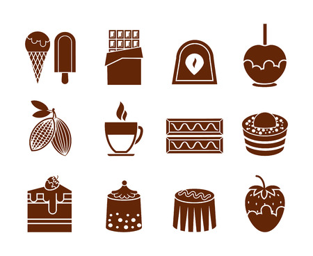 cream pie: Chocolate and candy icons set. Cream and dessert, pie and cupcake, vector illustration