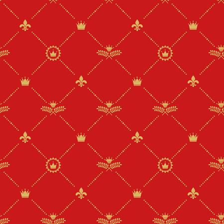 crown: Antique royal background pattern. Design damask, decor baroque, crown and branch, vector illustration Illustration