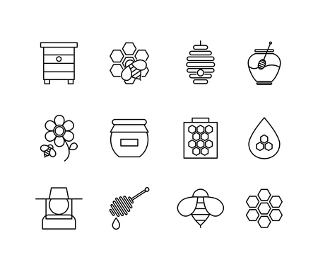honeycomb: Honey thin line icons set. Food sweet, natural honeycomb, vector illustration