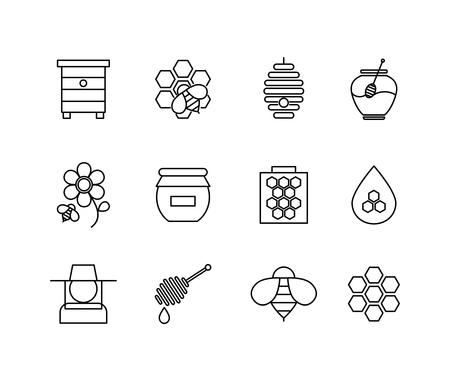 peineta: Miel iconos de línea delgada. Alimentos dulces, nido de abeja natural, ilustración vectorial