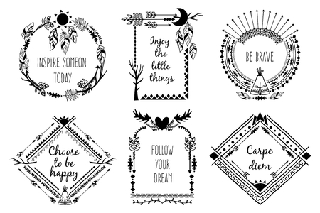 Tribal design frames with text. Element decoration, antlers and feather. Vector illustration
