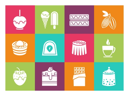 confectionery: Coffee, desserts and chocolate icons for cafe and confectionery. Tasty muffin,  ice cream and pie, vector illustration