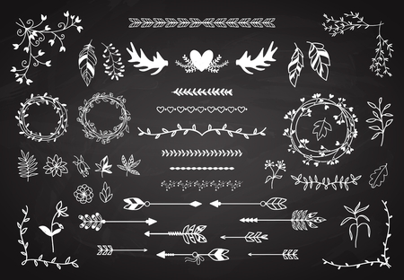 boho: Floral boho element set. Arrows and horns, feathers and wreaths. Hipster ornament vintage. Vector illustration