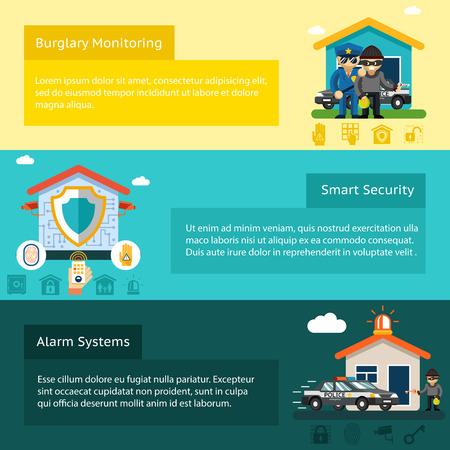 building security: Home security system flat vector banners set. Thief and burglar, home safety, vector illustration