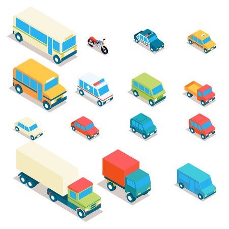 vehicle: Isometric city transport and trucks vector icons. Cars, minibus, bus, jeep, police car, taxi, ambulance 3d set. Transportation illustration, vehicle design