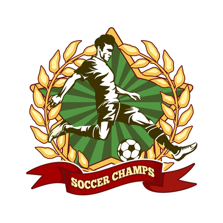 champ: Soccer championship label. Player football, sport game, athlete champ. Vector illustration