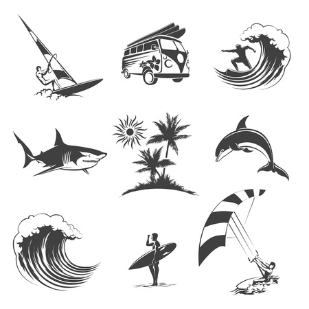 surf silhouettes: Surfing icons set. Sport surf sea, beach and travel, surfer sign, vector illustration Illustration