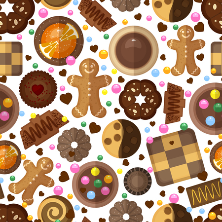 cioccolato natale: Cookies background for christmas and birthday. Dessert sweet, jam and chocolate, yummy product, gingerbread vector illustration