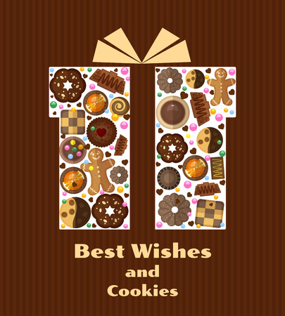 yummy: Gift box with cookies. Yummy product, gingerbread and birthday, pattern bakery, vector illustration