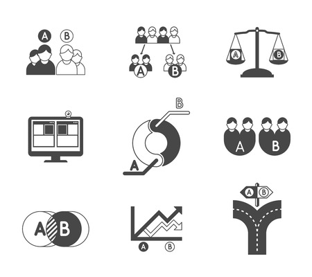 business development: A and B split testing black icons. Feedback and optimization, choose and comparison, vector illustration Illustration
